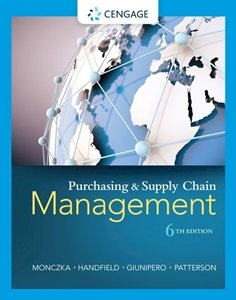 Picture of Purchasing and Supply Chain Management 6th Edition, by Robert Handfield, Larry Giunipero (Cengage 2019-2020)